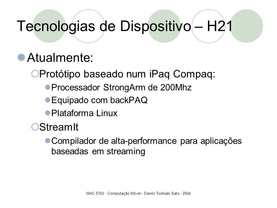 MAC 5743 - Computação Móvel - Danilo Toshiaki Sato - 2004 Tecnologias de Dispositivo – H21 Atualmente: Protótipo baseado num iPaq Compaq: Processador
