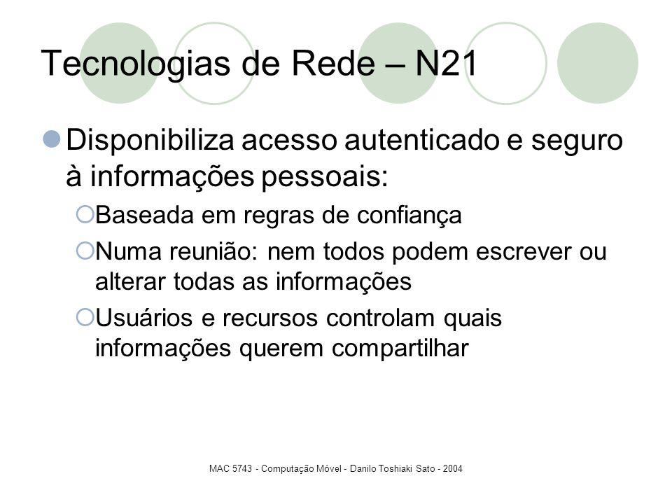 MAC 5743 - Computação Móvel - Danilo Toshiaki Sato - 2004 Tecnologias de Rede – N21 Disponibiliza acesso autenticado e seguro à informações pessoais: