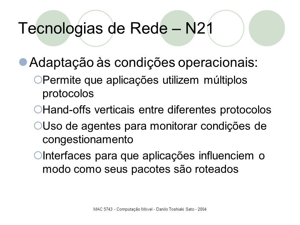 MAC 5743 - Computação Móvel - Danilo Toshiaki Sato - 2004 Tecnologias de Rede – N21 Adaptação às condições operacionais: Permite que aplicações utiliz