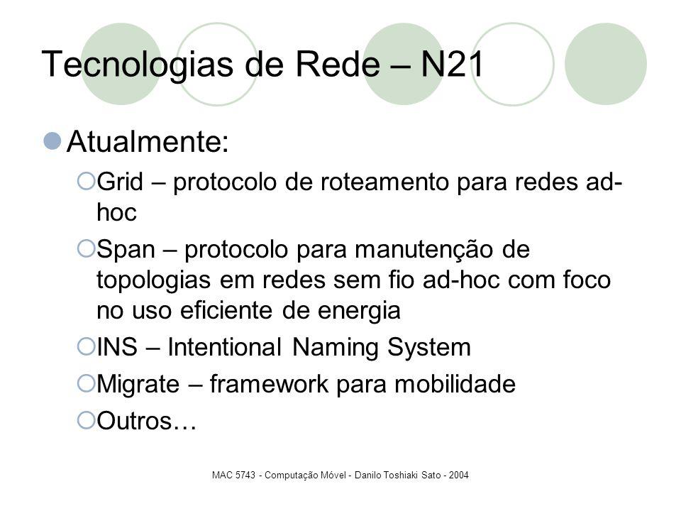 MAC 5743 - Computação Móvel - Danilo Toshiaki Sato - 2004 Tecnologias de Rede – N21 Atualmente: Grid – protocolo de roteamento para redes ad- hoc Span