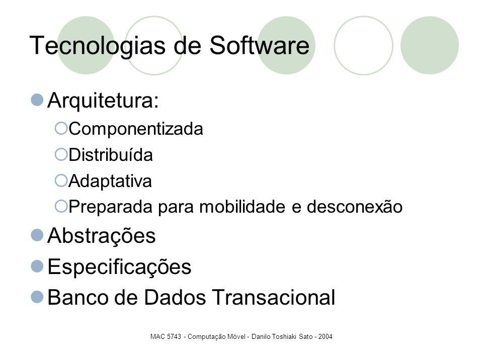 MAC 5743 - Computação Móvel - Danilo Toshiaki Sato - 2004 Tecnologias de Software Arquitetura: Componentizada Distribuída Adaptativa Preparada para mo