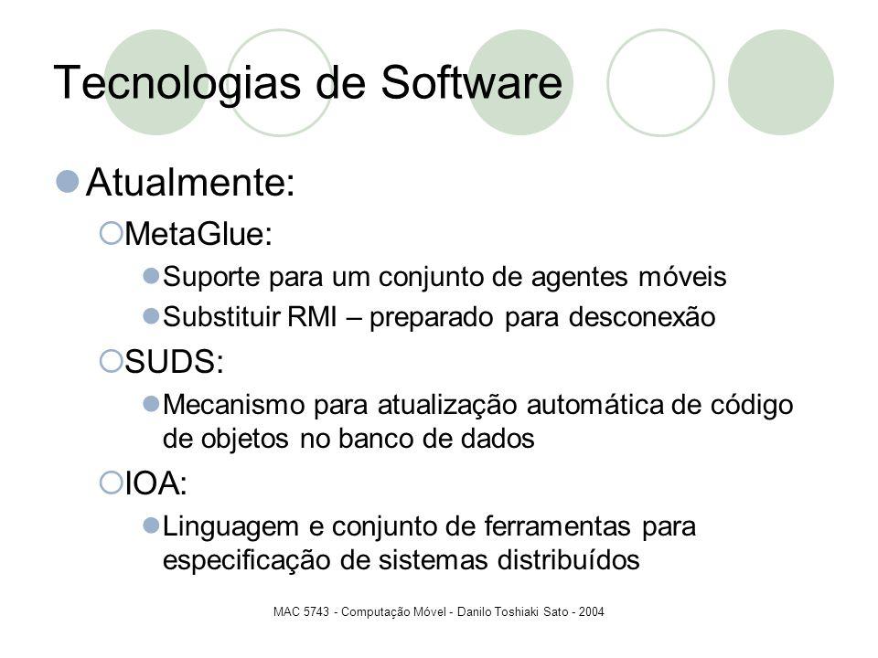MAC 5743 - Computação Móvel - Danilo Toshiaki Sato - 2004 Tecnologias de Software Atualmente: MetaGlue: Suporte para um conjunto de agentes móveis Sub