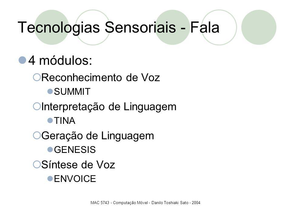 MAC 5743 - Computação Móvel - Danilo Toshiaki Sato - 2004 Tecnologias Sensoriais - Fala 4 módulos: Reconhecimento de Voz SUMMIT Interpretação de Lingu