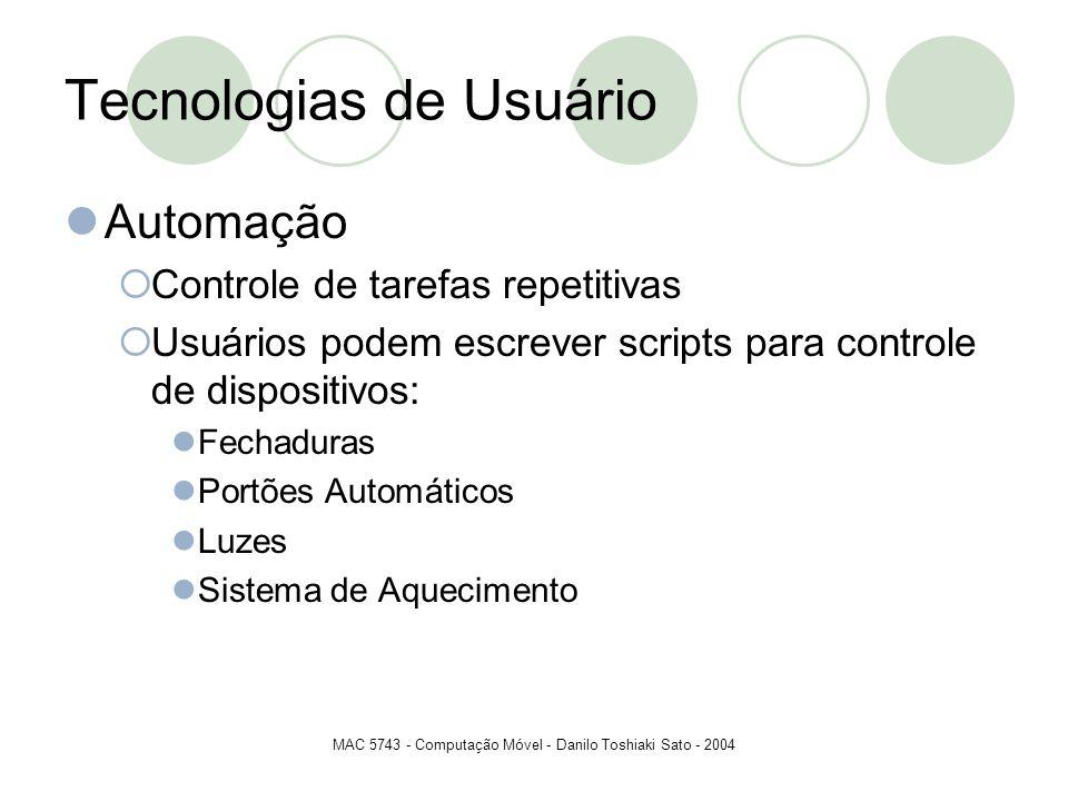 MAC 5743 - Computação Móvel - Danilo Toshiaki Sato - 2004 Tecnologias de Usuário Automação Controle de tarefas repetitivas Usuários podem escrever scr