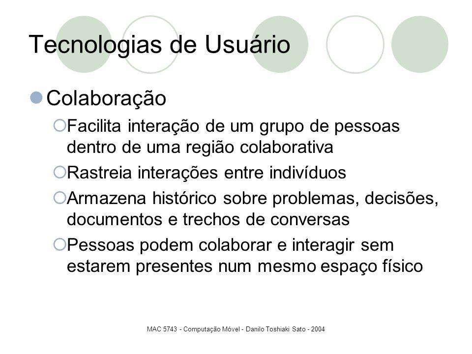 MAC 5743 - Computação Móvel - Danilo Toshiaki Sato - 2004 Tecnologias de Usuário Colaboração Facilita interação de um grupo de pessoas dentro de uma r