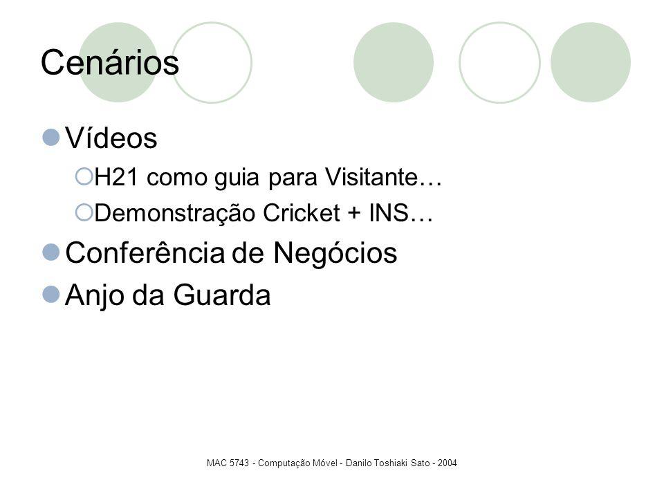 MAC 5743 - Computação Móvel - Danilo Toshiaki Sato - 2004 Cenários Vídeos H21 como guia para Visitante… Demonstração Cricket + INS… Conferência de Neg