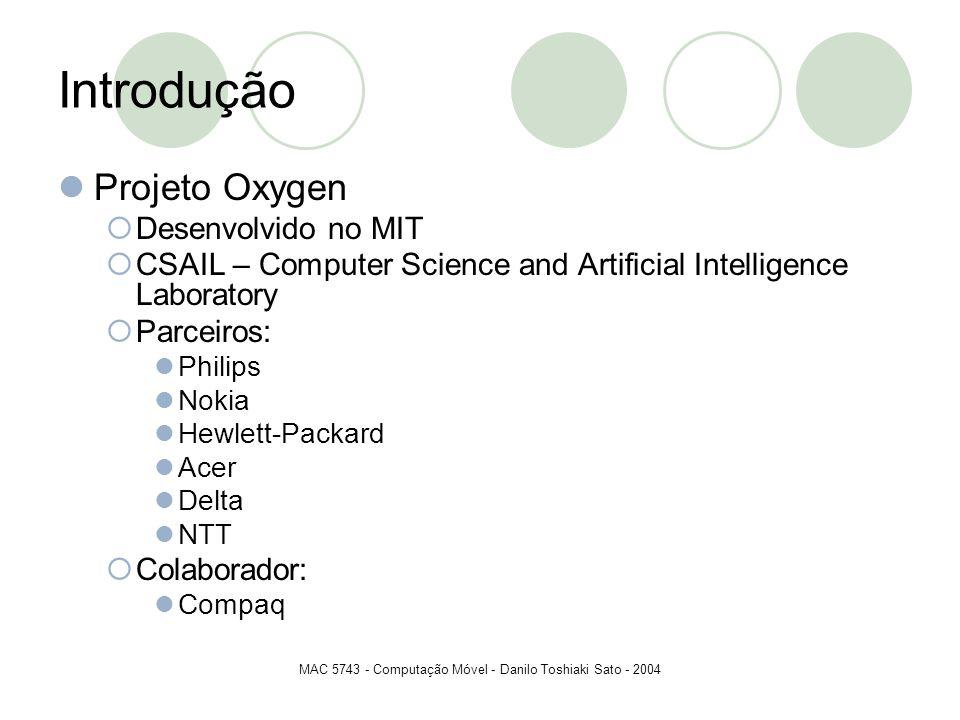 MAC 5743 - Computação Móvel - Danilo Toshiaki Sato - 2004 Introdução Projeto Oxygen Desenvolvido no MIT CSAIL – Computer Science and Artificial Intell