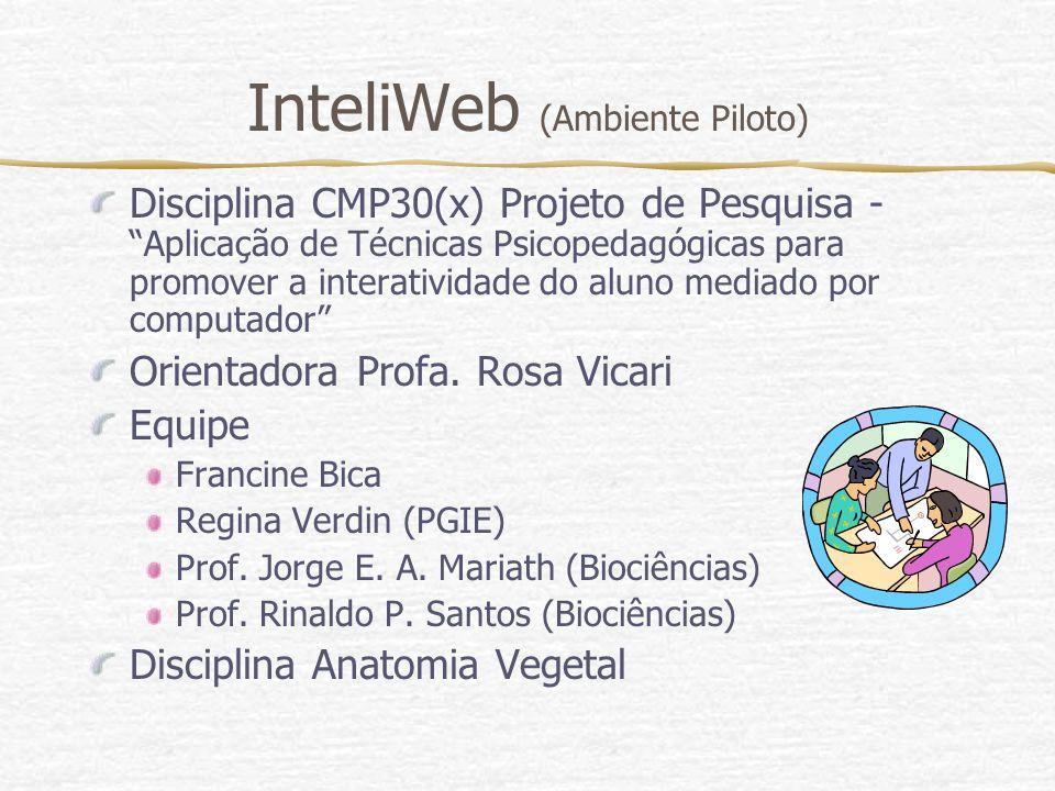InteliWeb (Ambiente Piloto) Disciplina CMP30(x) Projeto de Pesquisa - Aplicação de Técnicas Psicopedagógicas para promover a interatividade do aluno m