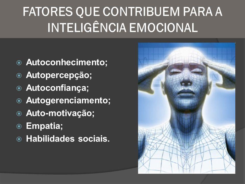FATORES QUE CONTRIBUEM PARA A INTELIGÊNCIA EMOCIONAL Autoconhecimento; Autopercepção; Autoconfiança; Autogerenciamento; Auto-motivação; Empatia; Habil
