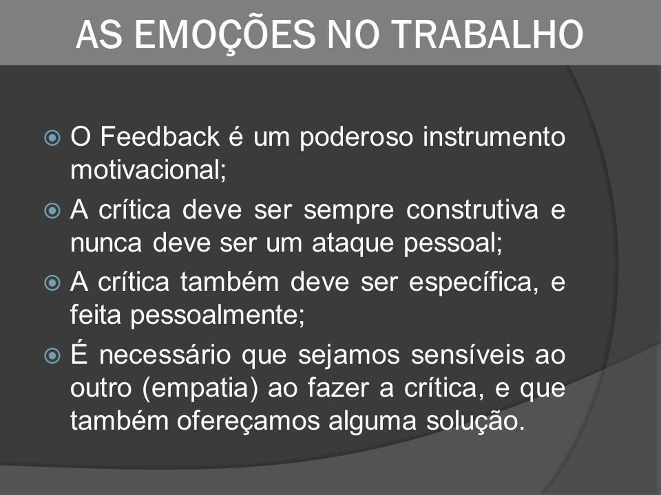 O Feedback é um poderoso instrumento motivacional; A crítica deve ser sempre construtiva e nunca deve ser um ataque pessoal; A crítica também deve ser