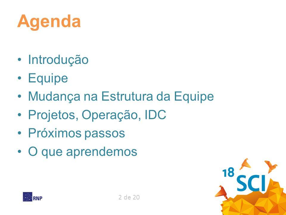 2 de 20 Agenda Introdução Equipe Mudança na Estrutura da Equipe Projetos, Operação, IDC Próximos passos O que aprendemos