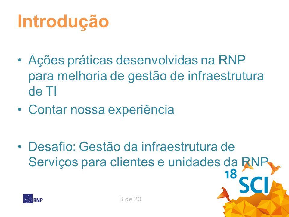 3 de 20 Introdução Ações práticas desenvolvidas na RNP para melhoria de gestão de infraestrutura de TI Contar nossa experiência Desafio: Gestão da inf