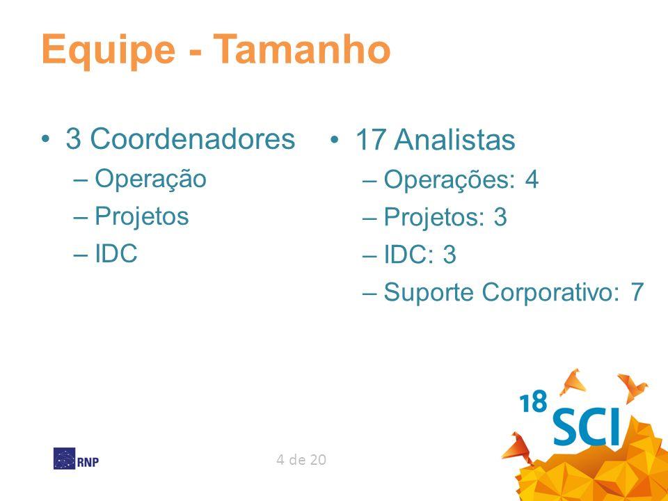4 de 20 Equipe - Tamanho 3 Coordenadores –Operação –Projetos –IDC 17 Analistas –Operações: 4 –Projetos: 3 –IDC: 3 –Suporte Corporativo: 7