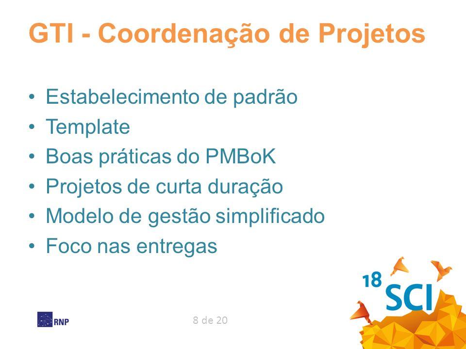 8 de 20 GTI - Coordenação de Projetos Estabelecimento de padrão Template Boas práticas do PMBoK Projetos de curta duração Modelo de gestão simplificad