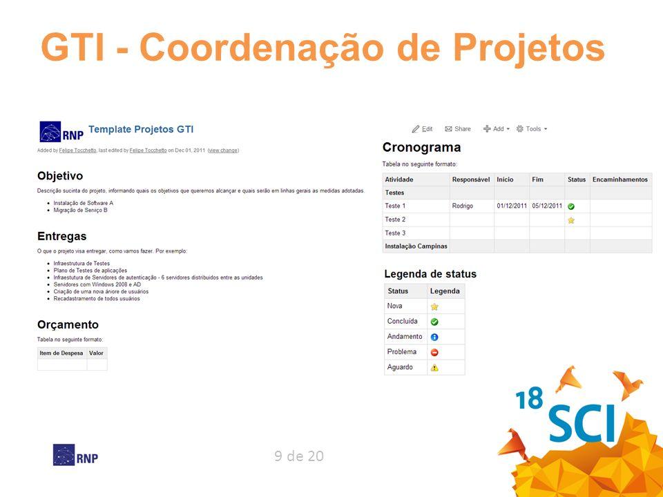 9 de 20 GTI - Coordenação de Projetos