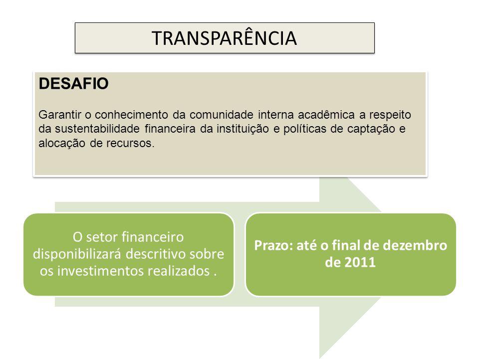 O setor financeiro disponibilizará descritivo sobre os investimentos realizados. Prazo: até o final de dezembro de 2011 TRANSPARÊNCIA DESAFIO Garantir