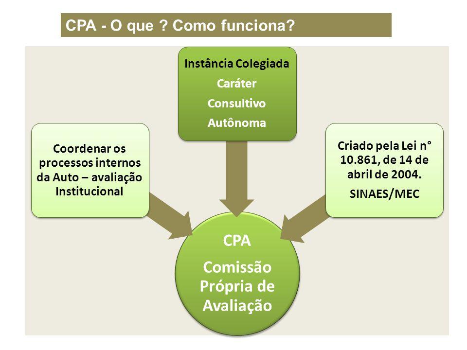 CPA Comissão Própria de Avaliação Coordenar os processos internos da Auto – avaliação Institucional Instância Colegiada Caráter Consultivo Autônoma Cr