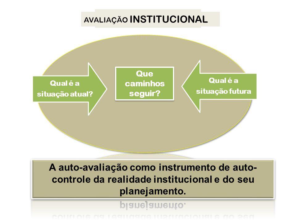Qual é a situação atual? Qual é a situação futura? PDI AVALIAÇÃO INSTITUCIONAL Que caminhos seguir? Que caminhos seguir? Qual é a situação atual? Qual