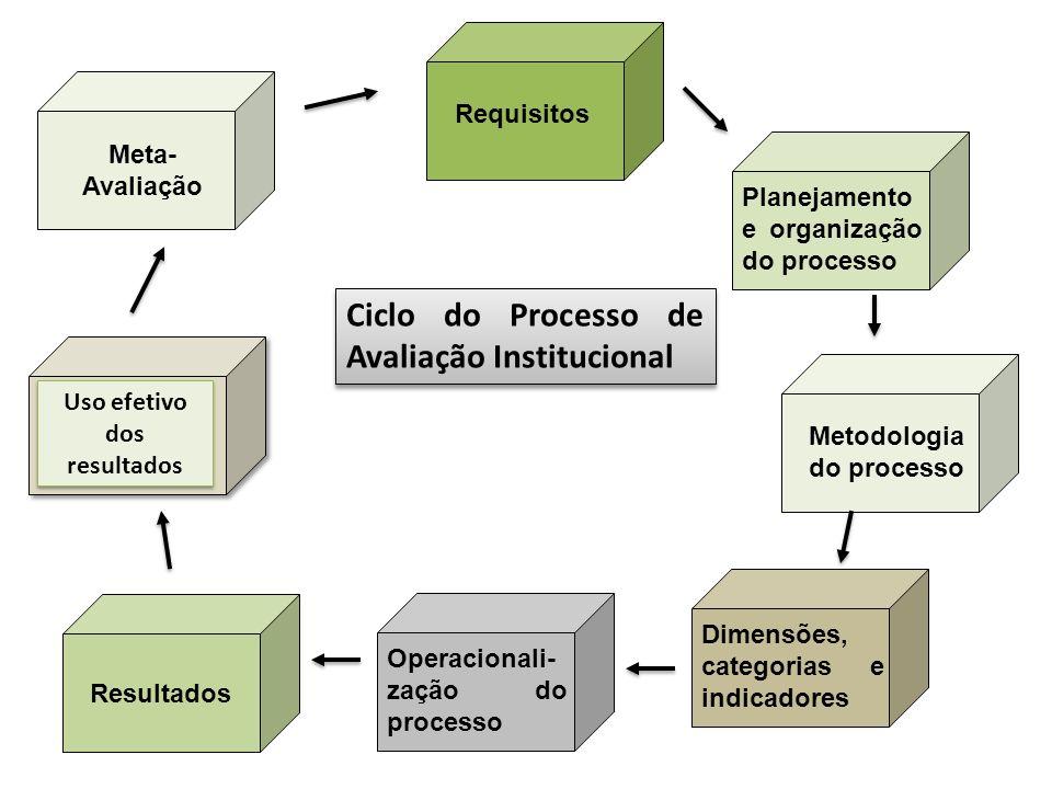 Ciclo do Processo de Avaliação Institucional Requisitos Metodologia do processo Dimensões, categorias e indicadores Planejamento e organização do proc