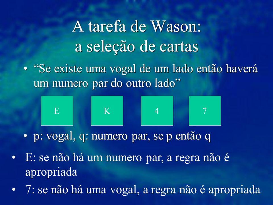 A tarefa de Wason: a seleção de cartas Se existe uma vogal de um lado então haverá um numero par do outro ladoSe existe uma vogal de um lado então hav