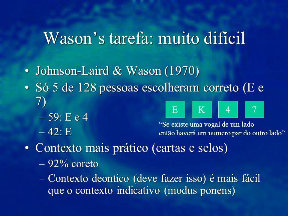 Wasons tarefa: muito difícil Johnson-Laird & Wason (1970)Johnson-Laird & Wason (1970) Só 5 de 128 pessoas escolheram correto (E e 7)Só 5 de 128 pessoa