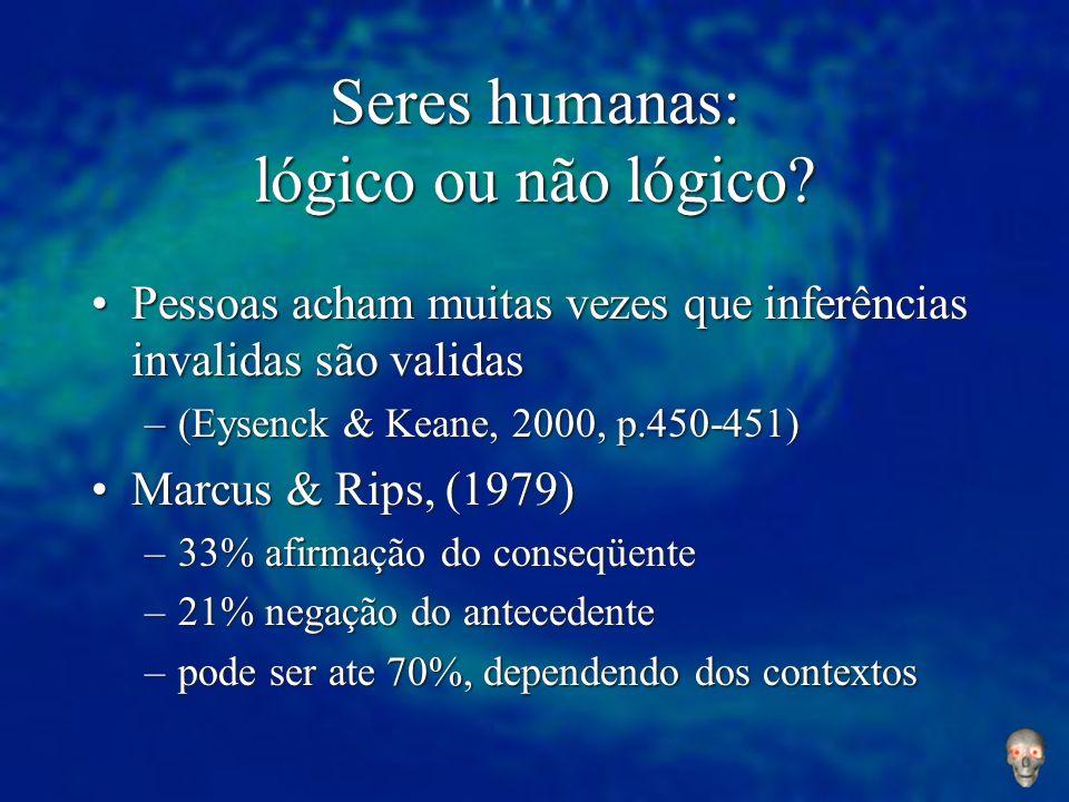 Seres humanas: lógico ou não lógico? Pessoas acham muitas vezes que inferências invalidas são validasPessoas acham muitas vezes que inferências invali