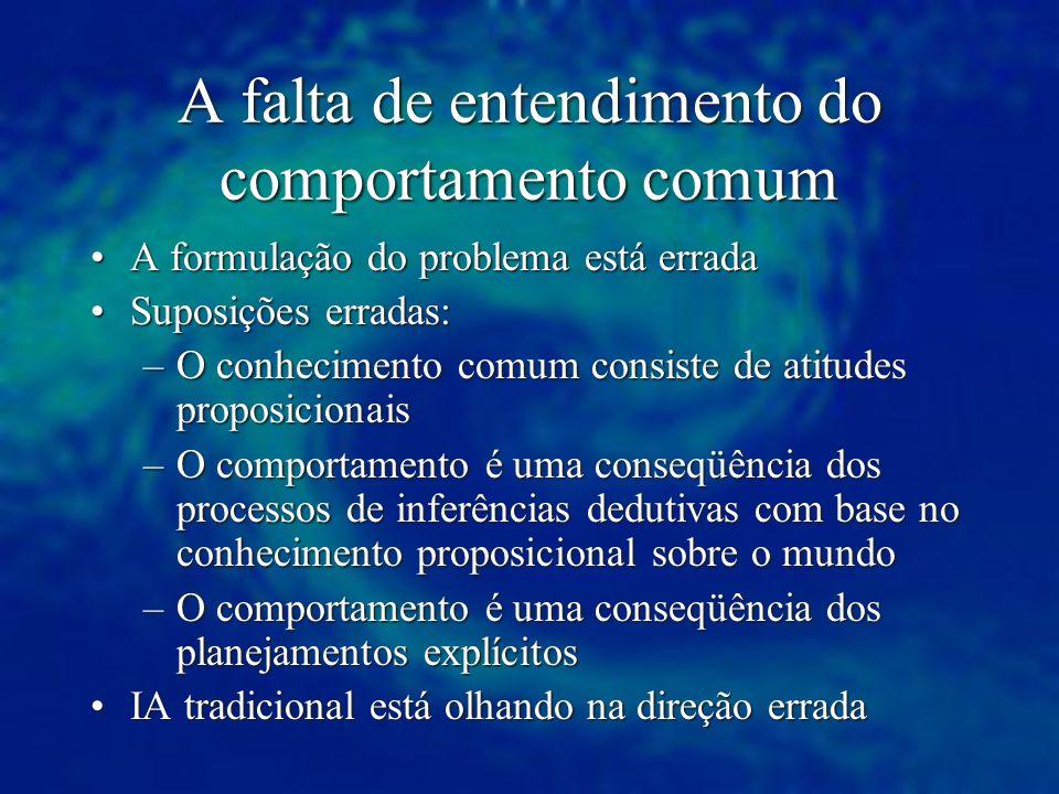 A falta de entendimento do comportamento comum A formulação do problema está erradaA formulação do problema está errada Suposições erradas:Suposições