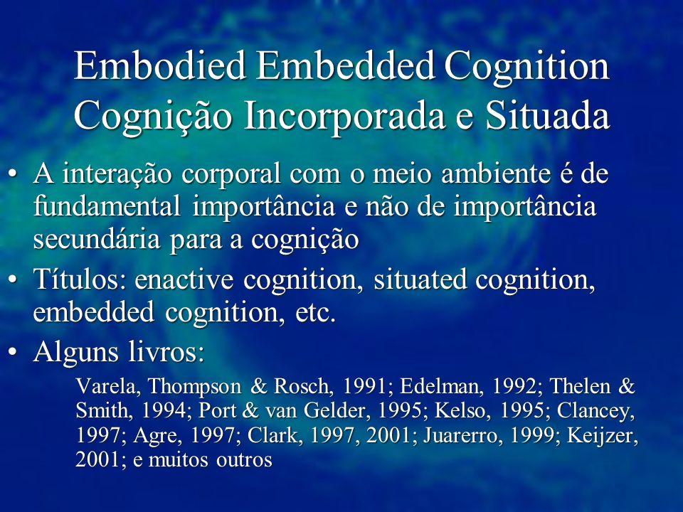 Embodied Embedded Cognition Cognição Incorporada e Situada A interação corporal com o meio ambiente é de fundamental importância e não de importância