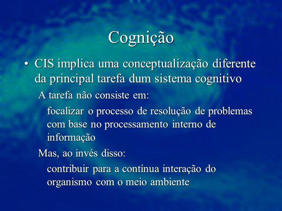Cognição CIS implica uma conceptualização diferente da principal tarefa dum sistema cognitivoCIS implica uma conceptualização diferente da principal t