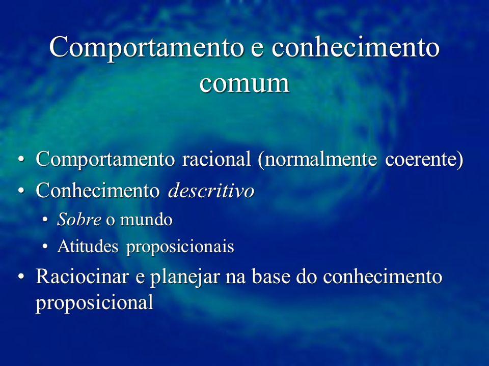 Comportamento e conhecimento comum Comportamento racional (normalmente coerente)Comportamento racional (normalmente coerente) Conhecimento descritivoC