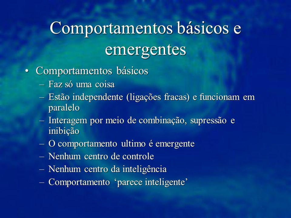 Comportamentos básicos e emergentes Comportamentos básicosComportamentos básicos –Faz só uma coisa –Estão independente (ligações fracas) e funcionam e