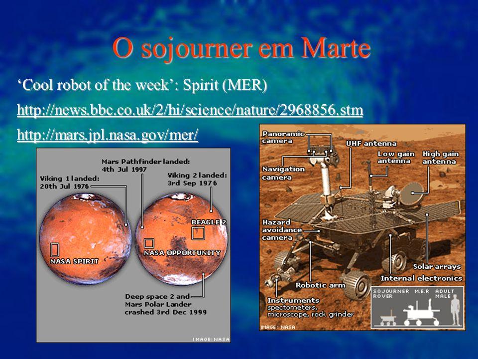 O sojourner em Marte Cool robot of the week: Spirit (MER)Cool robot of the week: Spirit (MER) http://news.bbc.co.uk/2/hi/science/nature/2968856.stm ht