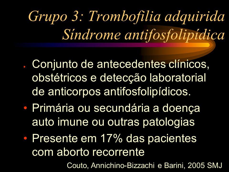 Grupo 3: Trombofilia adquirida Síndrome antifosfolipídica l Conjunto de antecedentes clínicos, obstétricos e detecção laboratorial de anticorpos antif
