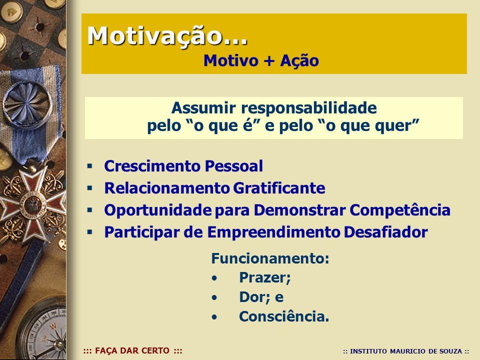 ::: FAÇA DAR CERTO ::: :: INSTITUTO MAURICIO DE SOUZA :: Assumir responsabilidade pelo o que é e pelo o que quer Motivação... Motivação... Funcionamen