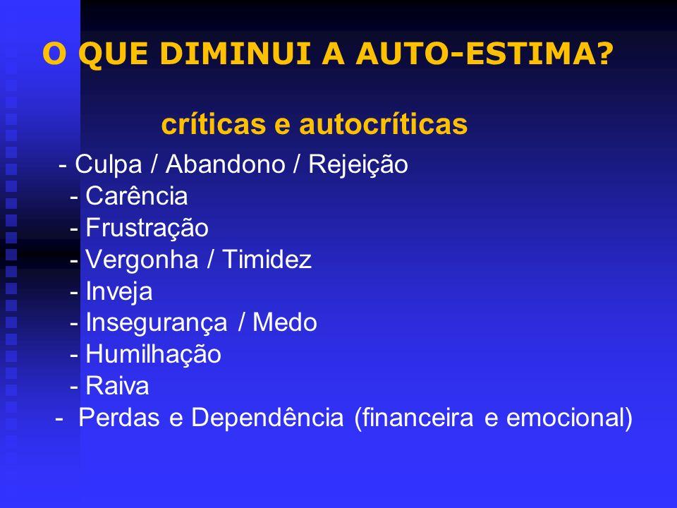 CARACTERÍSTICAS DA BAIXA AUTO-ESTIMA NA APOSENTADORIA Insegurança - Inadequação - Perfeccionismo - Dúvidas constantes - Incerto do que se é - Sentimen