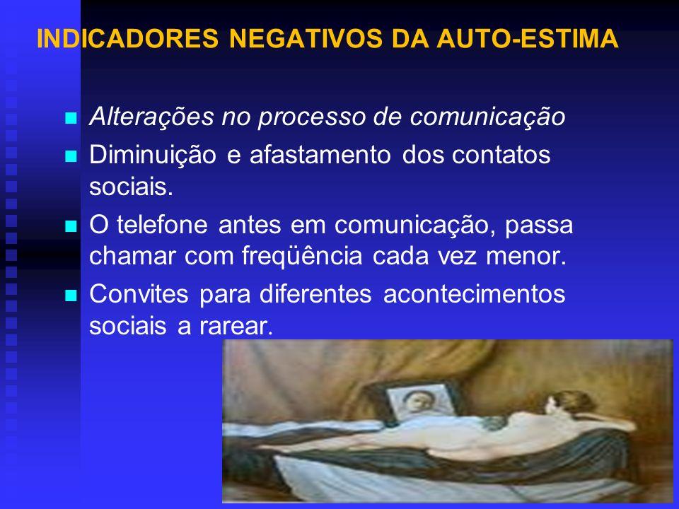 INDICADORES NEGATIVOS DA AUTO - ESTIMA Autoconhecimento - MANTER-SE EM FORMA FÍSICA (GOSTAR DA IMAGEM REFLETIDA NO ESPELHO) - IDENTIFICAR AS QUALIDADES E NÃO SÓ OS DEFEITOS - APRENDER COM A EXPERIÊNCIA PASSADA - TRATAR-SE COM AMOR E CARINHO - OUVIR A INTUIÇÃO (O QUE AUMENTA A AUTOCONFIANÇA) - MANTER DIÁLOGO INTERNO - ACREDITAR QUE MERECE SER AMADO(A) E É ESPECIAL - FAZER TODO DIA ALGO QUE O DEIXE FELIZ.