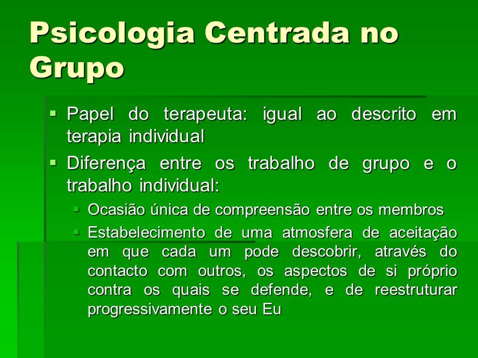 Psicologia Centrada no Grupo Papel do terapeuta: igual ao descrito em terapia individual Papel do terapeuta: igual ao descrito em terapia individual D