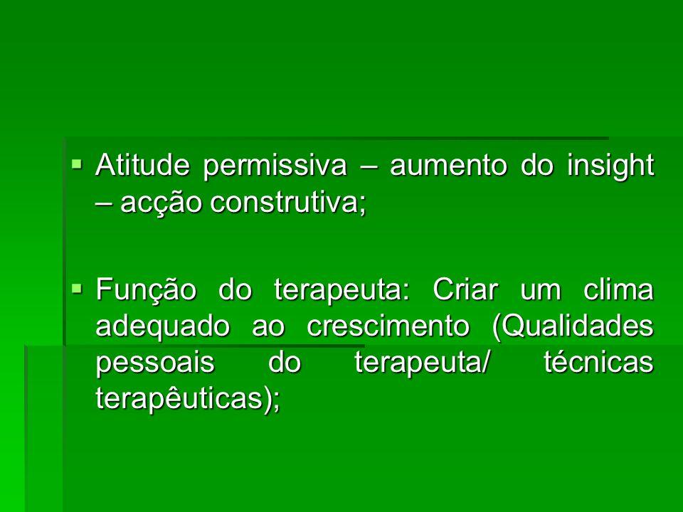 Atitude permissiva – aumento do insight – acção construtiva; Atitude permissiva – aumento do insight – acção construtiva; Função do terapeuta: Criar u