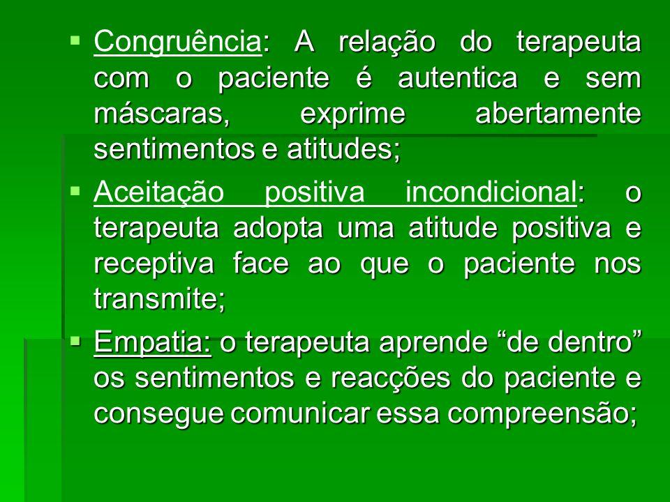 Congruência: A relação do terapeuta com o paciente é autentica e sem máscaras, exprime abertamente sentimentos e atitudes; Aceitação positiva incondic