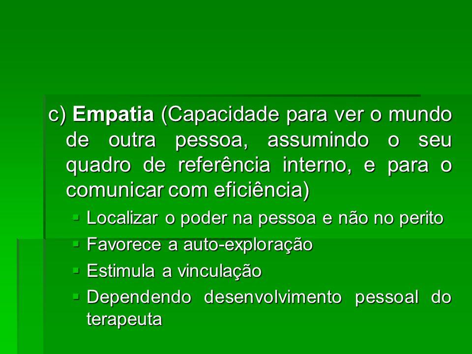 c) Empatia (Capacidade para ver o mundo de outra pessoa, assumindo o seu quadro de referência interno, e para o comunicar com eficiência) Localizar o