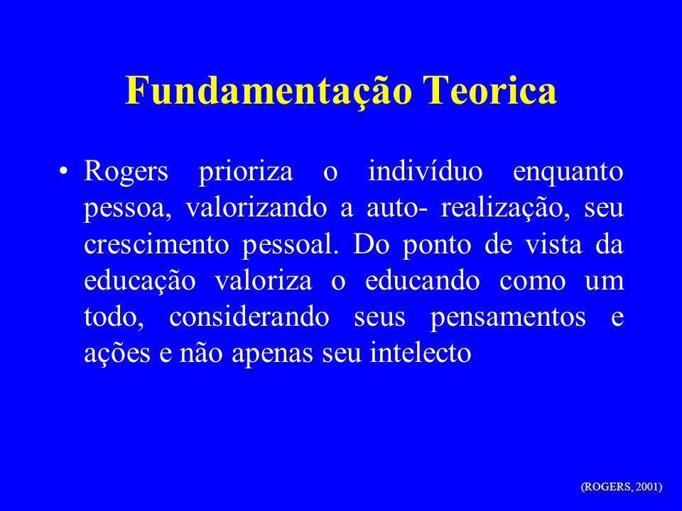 Fundamentação Teorica Rogers prioriza o indivíduo enquanto pessoa, valorizando a auto- realização, seu crescimento pessoal. Do ponto de vista da educa