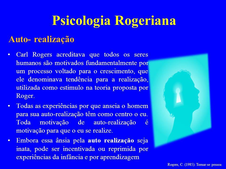 Psicologia Rogeriana Carl Rogers acreditava que todos os seres humanos são motivados fundamentalmente por um processo voltado para o crescimento, que