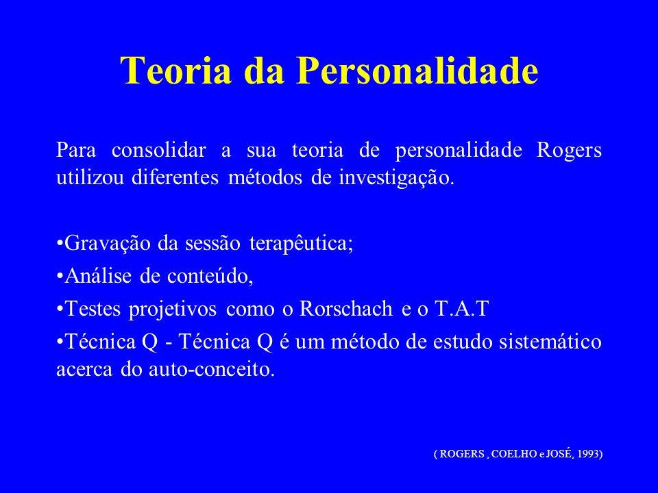 Teoria da Personalidade Para consolidar a sua teoria de personalidade Rogers utilizou diferentes métodos de investigação. Gravação da sessão terapêuti