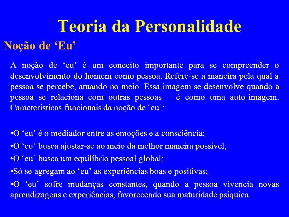 Teoria da Personalidade A noção de eu é um conceito importante para se compreender o desenvolvimento do homem como pessoa. Refere-se a maneira pela qu