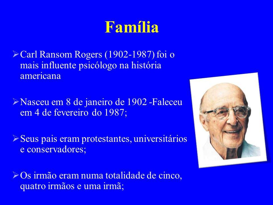 Família Carl Ransom Rogers (1902-1987) foi o mais influente psicólogo na história americana Nasceu em 8 de janeiro de 1902 -Faleceu em 4 de fevereiro