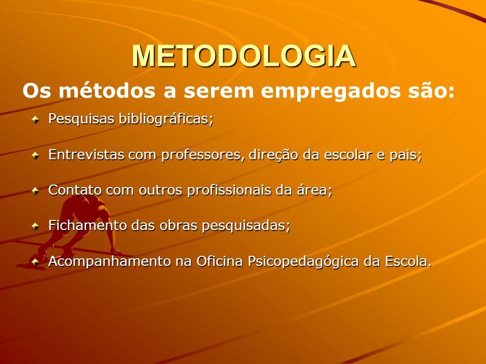 METODOLOGIA Pesquisas bibliográficas; Entrevistas com professores, direção da escolar e pais; Contato com outros profissionais da área; Fichamento das obras pesquisadas; Acompanhamento na Oficina Psicopedagógica da Escola.