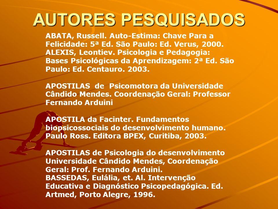 AUTORES PESQUISADOS ABATA, Russell. Auto-Estima: Chave Para a Felicidade: 5ª Ed. São Paulo: Ed. Verus, 2000. ALEXIS, Leontiev. Psicologia e Pedagogia: