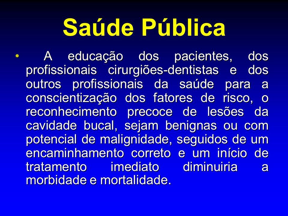 Saúde Pública A educação dos pacientes, dos profissionais cirurgiões-dentistas e dos outros profissionais da saúde para a conscientização dos fatores