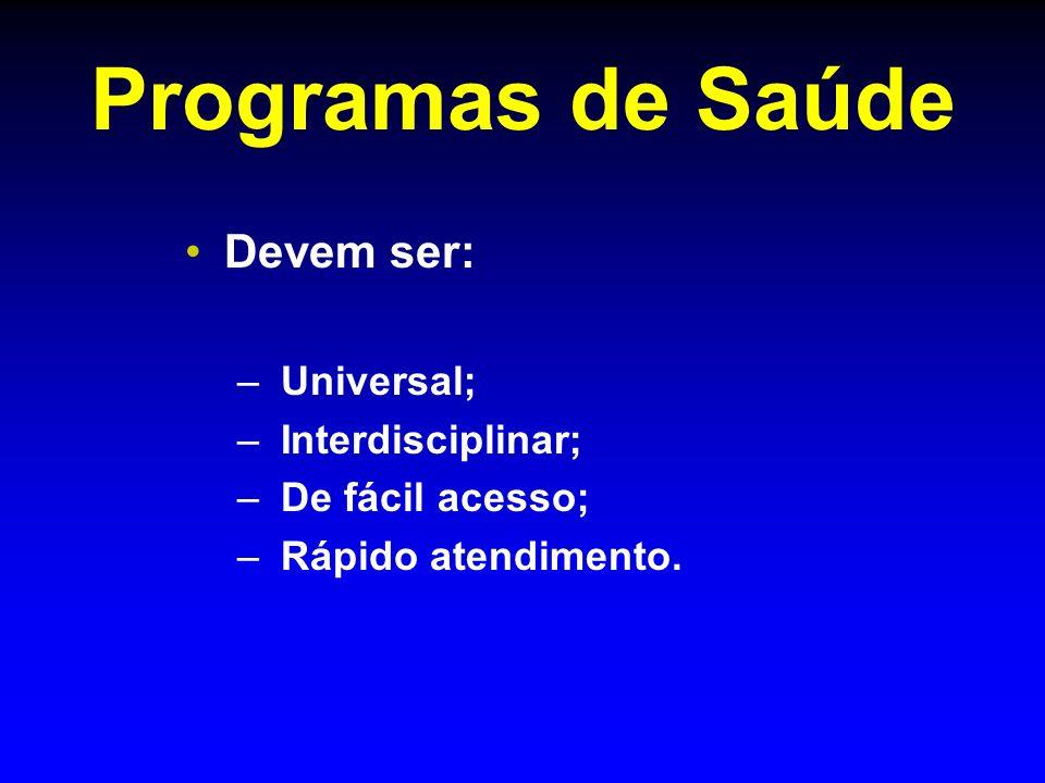 Programas de Saúde Devem ser: – – Universal; – – Interdisciplinar; – – De fácil acesso; – – Rápido atendimento.