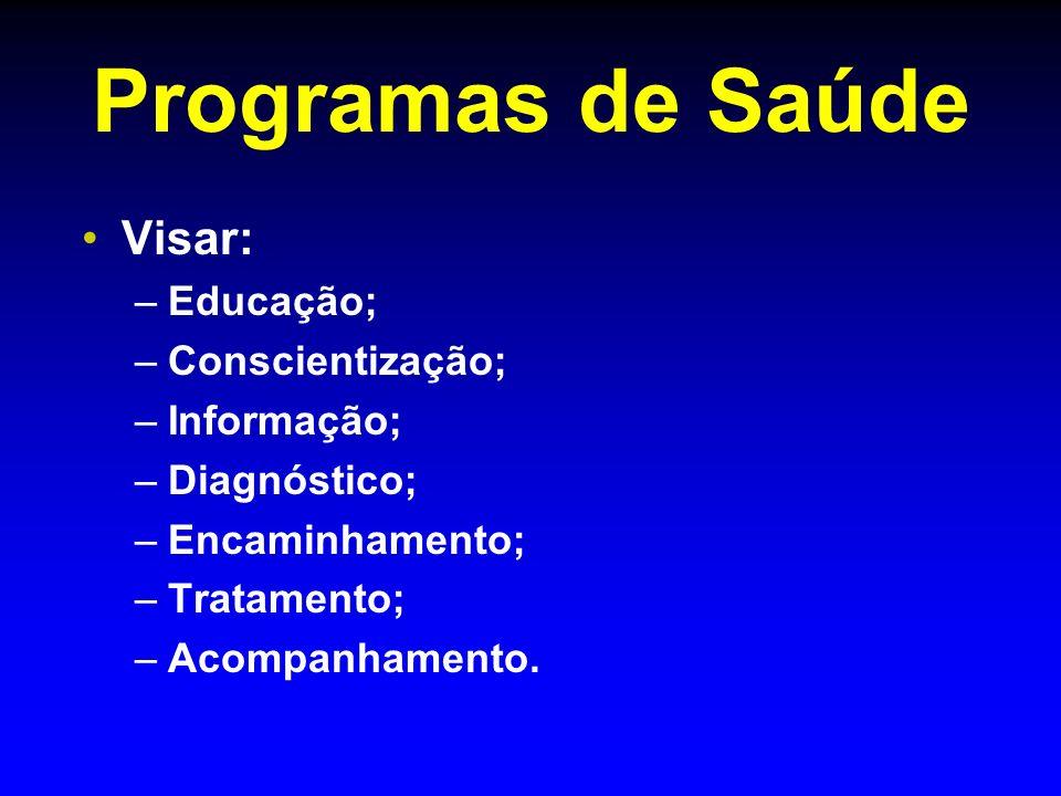 Programas de Saúde Visar: – –Educação; – –Conscientização; – –Informação; – –Diagnóstico; – –Encaminhamento; – –Tratamento; – –Acompanhamento.